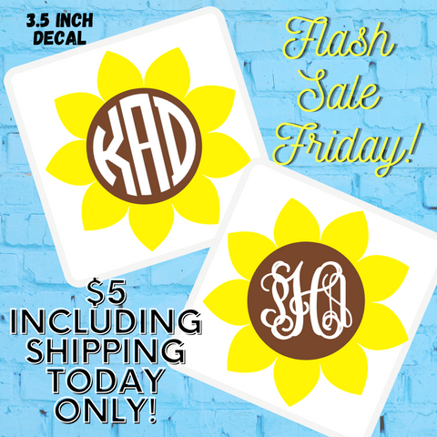 FLASH SALE FRIDAY! Sunflower Monogram Decal