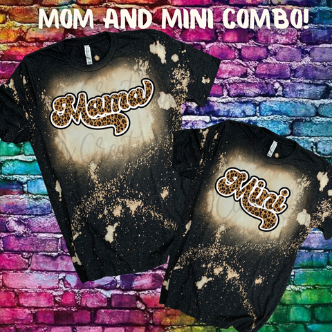Mama and Mini Leopard Dark Heather Gray Bleached T-Shirt Combo