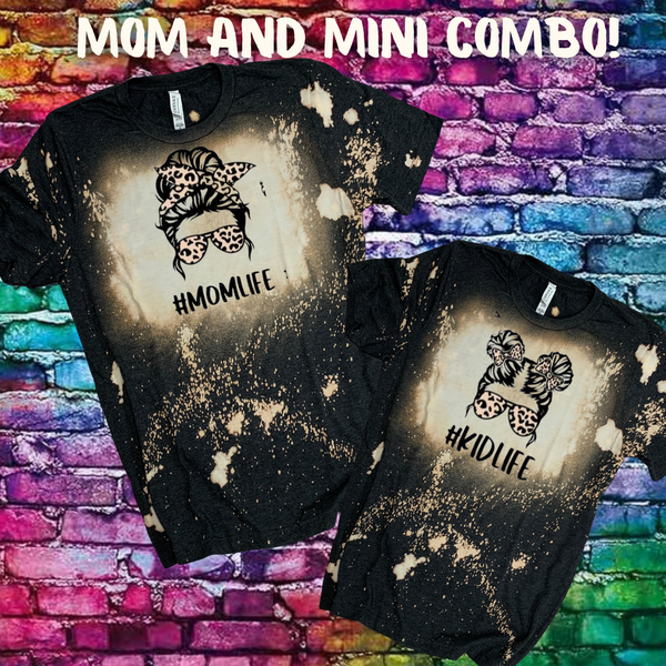 Mom Life Kid Life Leopard Dark Heather Gray Bleached T-Shirt Combo