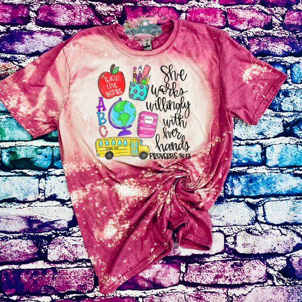 Teacher She Works Willingly Bleached T-Shirt