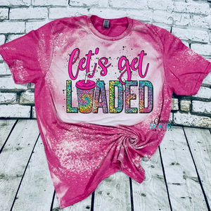 Let's Get Loaded Tea Rainbow Leopard Bleached T-Shirt