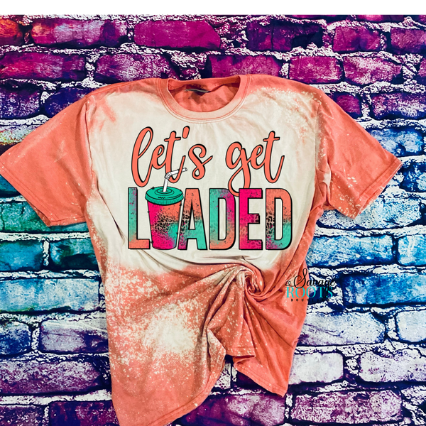 Let's Get Loaded Tea Coral Pink Teal Bleached T-Shirt