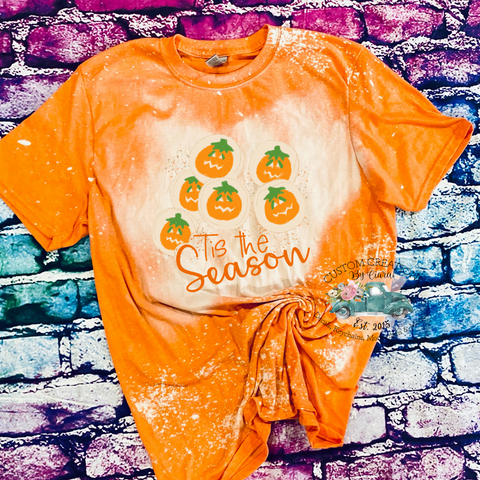 Tis The Season Fall Cookie Orange Bleached T - Shirt