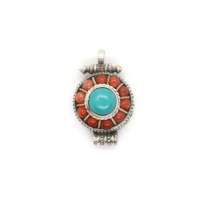 silver gau with turquoise and coral