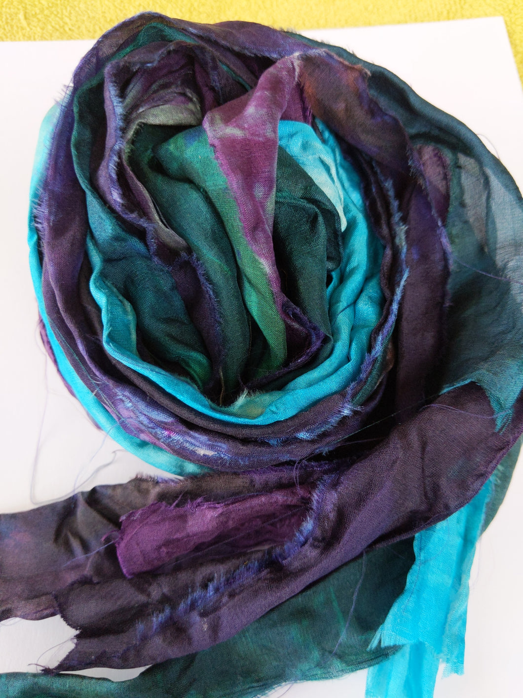 4 Hand-dyed and hand frayed silk ribbons HDSR45