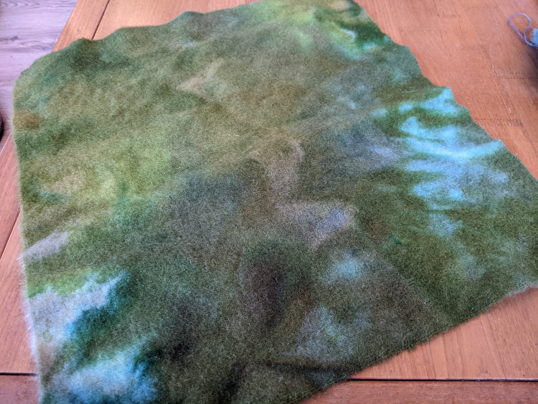 Hand Dyed wool mix vintage blanket large piece  - creative textiles - WB02