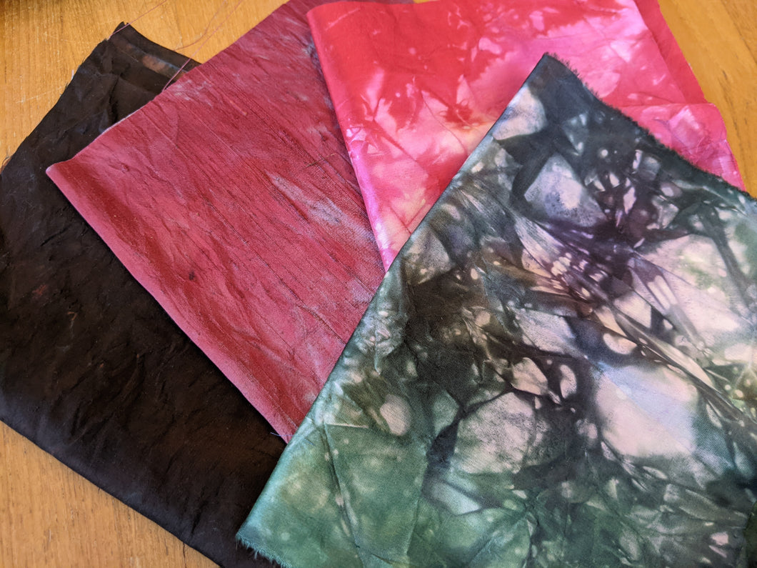 4 pieces Hand-dyed silk fabric HDSF10