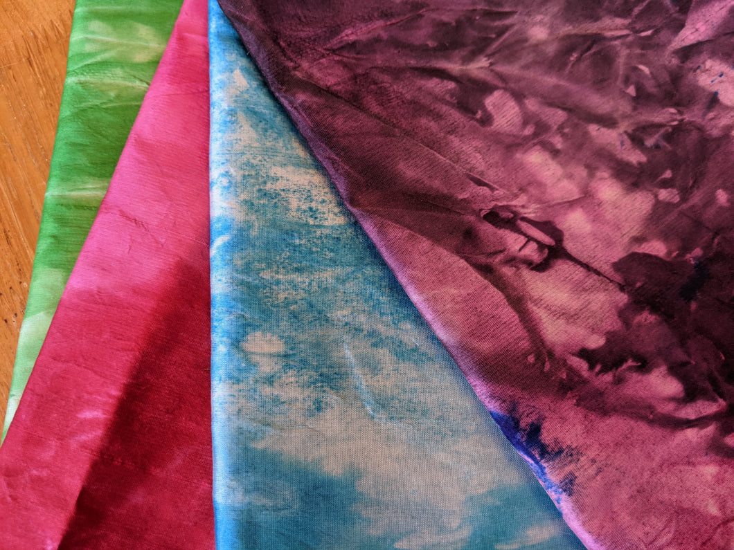 4 pieces Hand-dyed silk fabric HDSF15