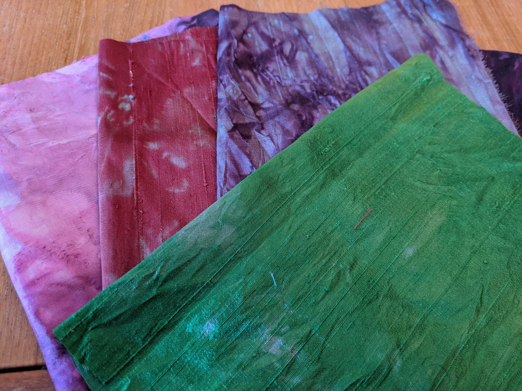 4 pieces Hand-dyed silk fabric HDSF16