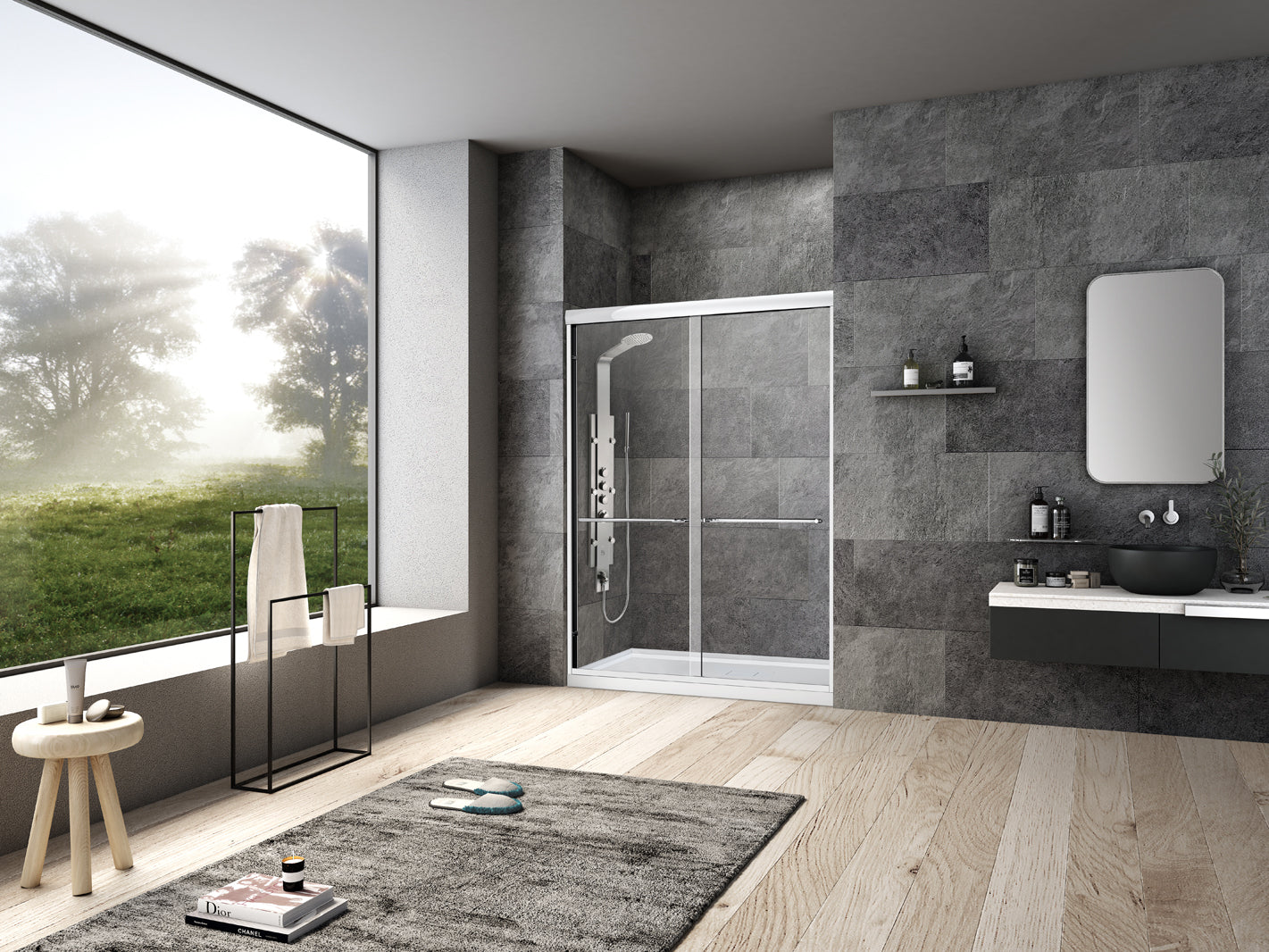 Framed Bypass Sliding Shower Door 60x76