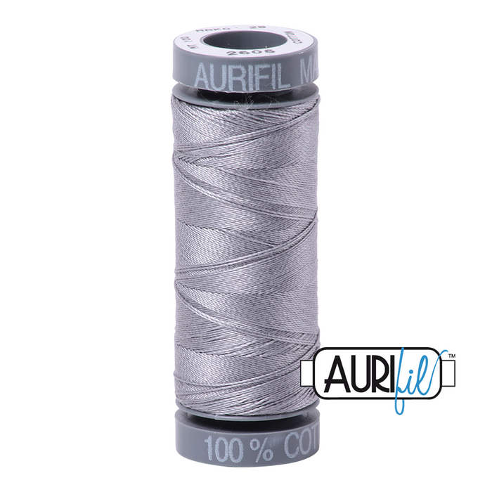 Aurifil 28 wt. 2605 in Grey