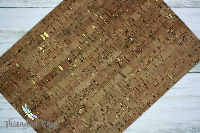 Cork Fabric in Stripped Gold