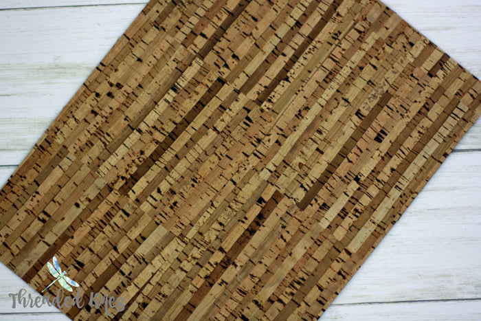 Cork Fabric in Natural Stripes