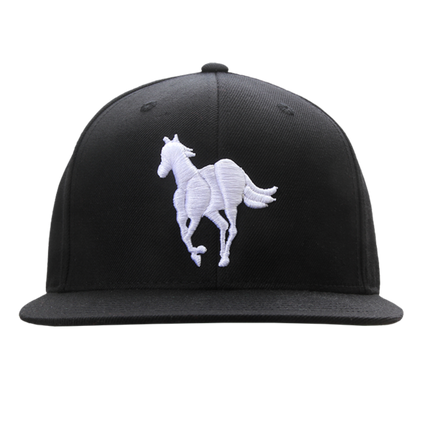 White Pony Snapback Cap (Black)