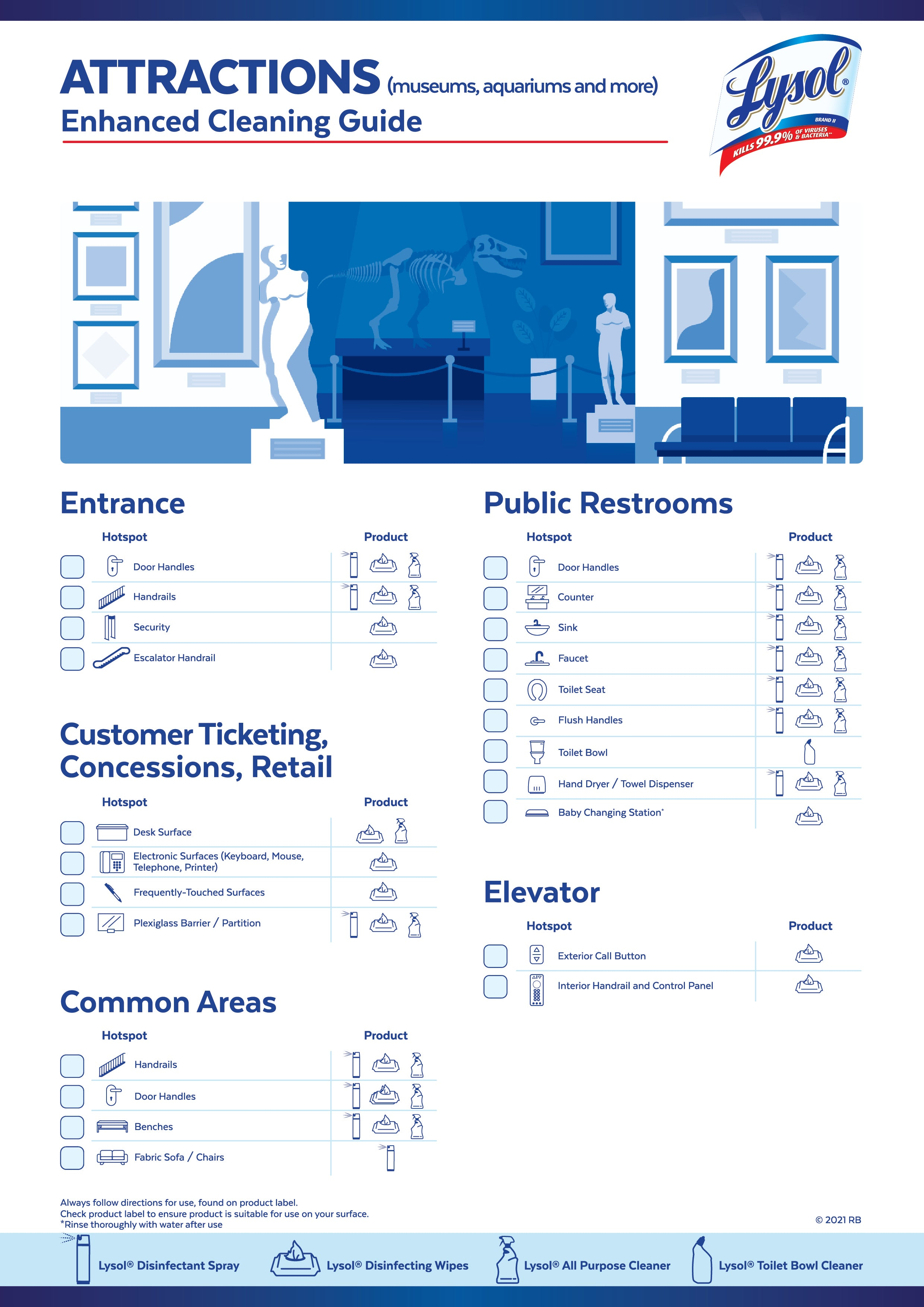 attractions cleaning guide