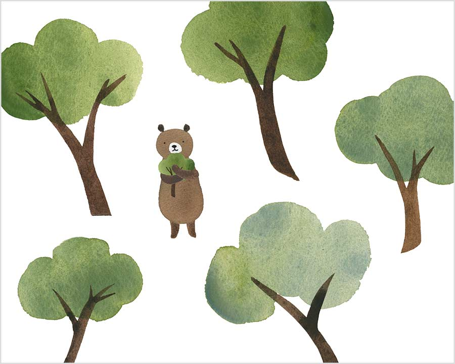 Bear in the Park with Trees