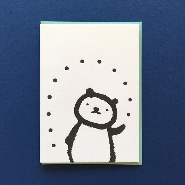 bear juggling balls blank letterpress card