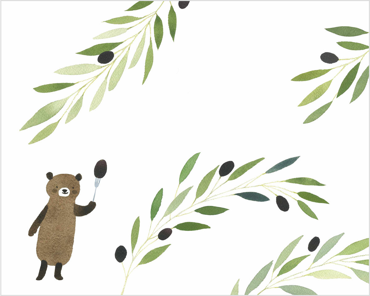 bear with olive branches watercolor print