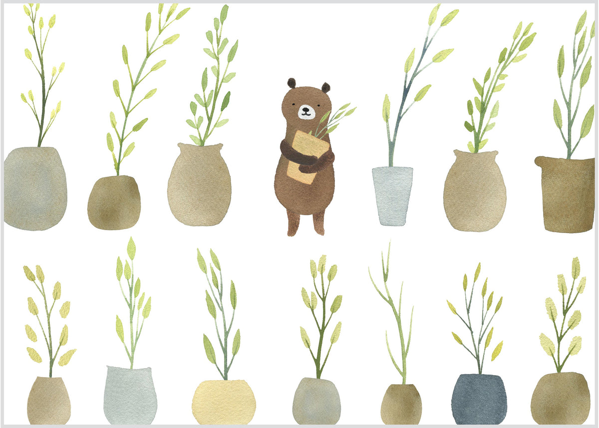 Bear with Potted Plants