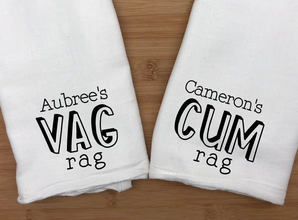 Personalized Name Vag Rag and Cum Rag Set -Clean Up Towel - Gag Gift - Sperm - Bachelorette Party - Jizz - X-Rated Gift