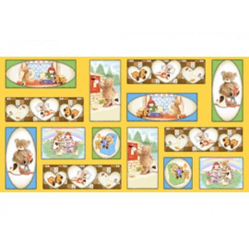 QT Popcorn & Friends Panel 1649-22026-YELLOW - Cotton Fabric