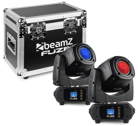 BeamZ FUZE75S 75W Moving Head Spot Set 2x im Flightcase - Lightronic Showequipment