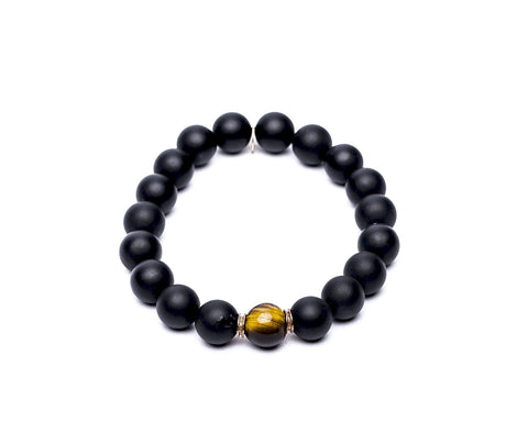 MATTE BLACK ONYX & TIGERS EYE - MEDIUM