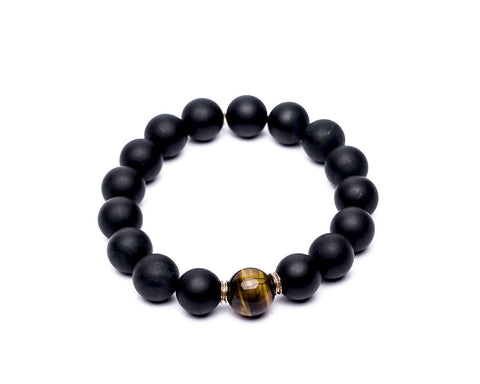 MATTE BLACK ONYX & TIGERS EYE - LARGE