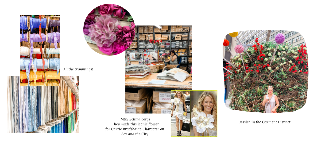 Jessica Resch Couture Sourcing for Fall/Winter 2021 Collection for Couture women's evening wear and Mother of the Bride Dresses in NYC. Sustainable and High Quality fabrics, trimmings and accessories!