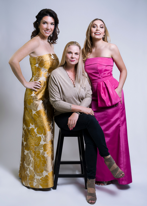 Jessica Resch Couture BTS Spring-Summer 2021 Photoshoot Blog Post. Pictured here are models Michelle Silver and Brittani Phillips with Designer and Founder Jessica Resch. Wearing the Camellia Dress and Classique Dress, designed with Mothers of the Bride and Groom in mind as well as Wedding Guest and Black Tie Event Outfits.