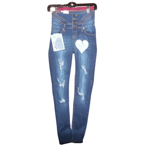 Columbian Style Levanta Cola Washed Distress Skinny Jeans (Sizes:1-3-5-7-9-11-13-15, Quantity: 1-2-2-2-2-1-1-1)