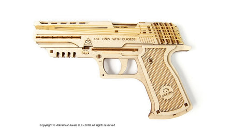 UGears Wolf-01 Handgun Wooden Rubber Band Gun Kit