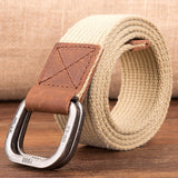 Unisex Canvas Belt  Hot Men Designer Belt Trap Double-ring Buckle Male Casual Solid Knitted Jean Belts Dropshiping