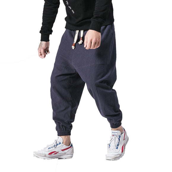 Linen Harem Pants Men Hip Hop Drop Pants Mens Joggers Cross-pants Male Pantalones Hombre Retro Fleece Sweatpants M-5XL