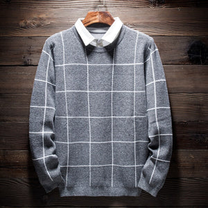 MRMT 2020 Brand Autumn and Winter New Fake Two Men's Sweater Slim Pullover for Male Shirt Collar Plaid Shirt Sweater