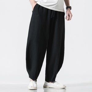 2020 Mens Wide Leg Pants Summer Cotton Linen Joggers Harem Pants Male Vintage Trousers Chinese Style Track Pants Dropshipping
