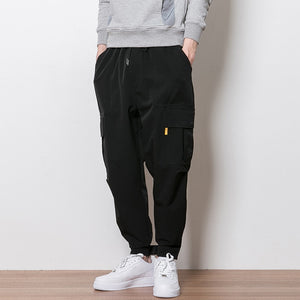 2020 Fitness Long Pants Men Casual Sweatpants Baggy Jogger Trousers Fashion Fitted Bottoms streetwear hiphop black cargo pants