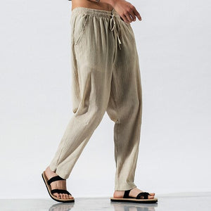 2020 Mens Cotton Linen Trousers Summer Men Casual Solid Elastic Waist  Pants Male Chinese Style Vintage Loose Pants M-5XL