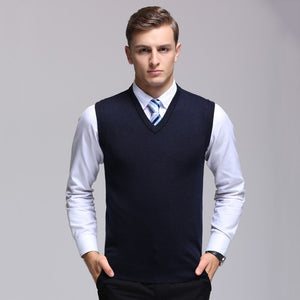 MRMT 2020 Brand Winter New Men's Knitted Vest V-collar Pure-color Sleeveless Wool Vest for Male Tops Knitted Vest