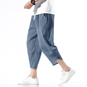 2020 Mens Cotton Linen Cropped Cross Pants Summer Men  Wide-Legged Bloomers Calf-Length Trousers Male Chinese Style Harem Pants
