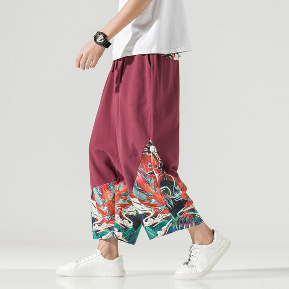 2020 Men's Cotton Linen Pants Men Chinese Style Wide Leg Bloomers Male Streetwear Joggers Elastic Waist Ankle-Length Trousers