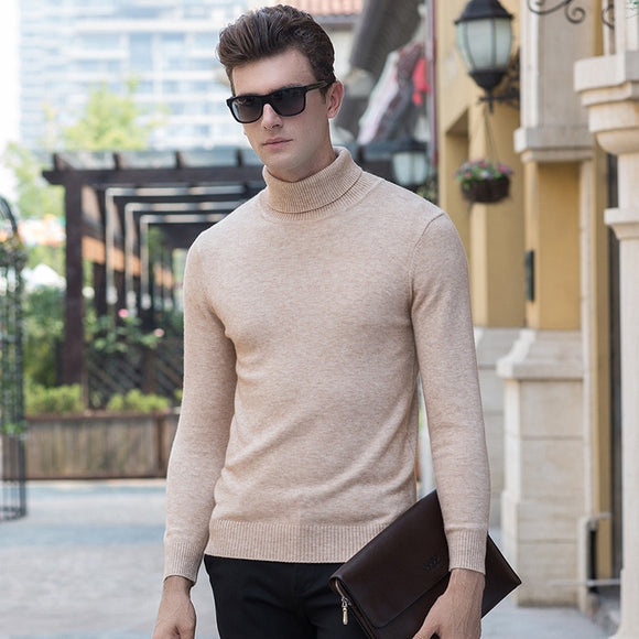 MRMT 2020 Brand Autumn and Winter New Men's Sweaters High Collar Sweater for Man Solid Color Long Sleeve Sweater
