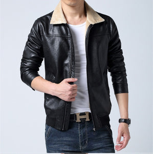 MRMT 2018 Brand Men's Jackets Slim Faux Overcoat for Male Lapel Leather Casual Washed Leather Jacket Outer Wear Clothing Garment