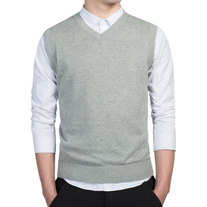 MRMT 2020 Brand New Men's Vest Sweater Cotton Knitted Vest for Male V-neck Sweater Sleeveless Pullover Tops Vest