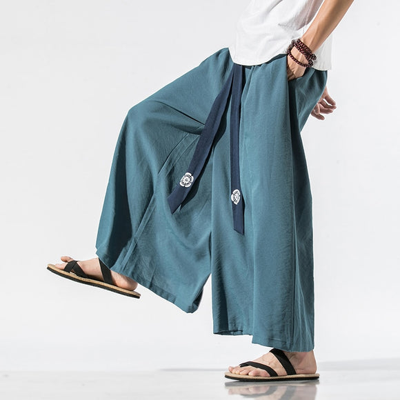 2020 Men Wide Leg Pants Mens Cotton Joggers Retro Loose Trousers Man Chinese Style Linen Pants Male Big Crotch Nepal Robe Pants