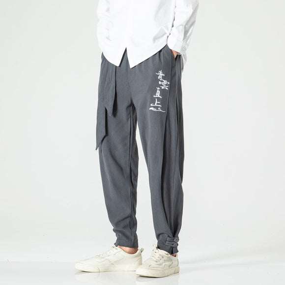 2020 Men Cotton Linen Harem Pants Men HipHop Streetwear Loose Joggers Casual Pants Male Chinese Style Ankle length Trousers