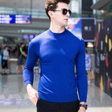 MRMT 2020 Brand Autumn Men's Semi-high Collar Knitted Sweater Thin Pure Color Middle Collar for Male Pullover Woolen Sweater