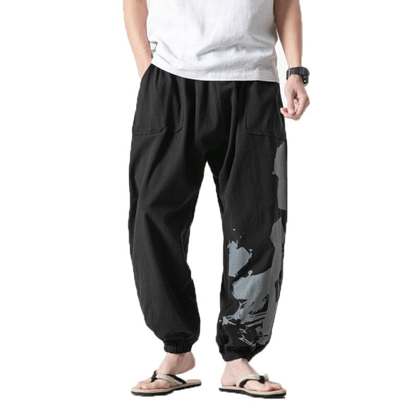 New men Hip Hop Pants Male Baggy Cotton Linen Harem Pants Men Women Plus Size Wide Leg Trousers man Casual Pants Cross-pants 5XL