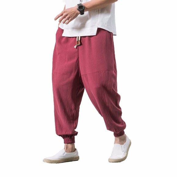 New Arrival Mens Casual Pants Thin Pant Trousers Elastic Waist Plus Size Men Jogger Sweatpants Male Harem Pant black 5XL