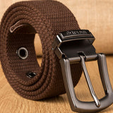 Men Weave Canvas belt  mens workout waist belt Casual Jeans Belt student needle  Buckle-Belt Male Lengthened Tactical Belt